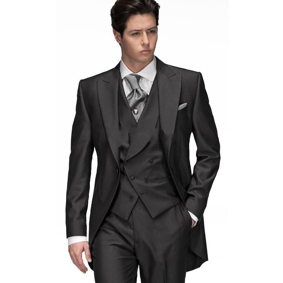 Click to Buy << Custom Made Black Groom Tuxedos Groomsmen Morning ...