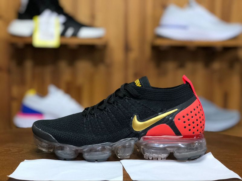 new style 3983b 3e949 2018 Nike Air Vapormax Flyknit 2.0 Mens Sport Shoes Black Red Golden  942842-002