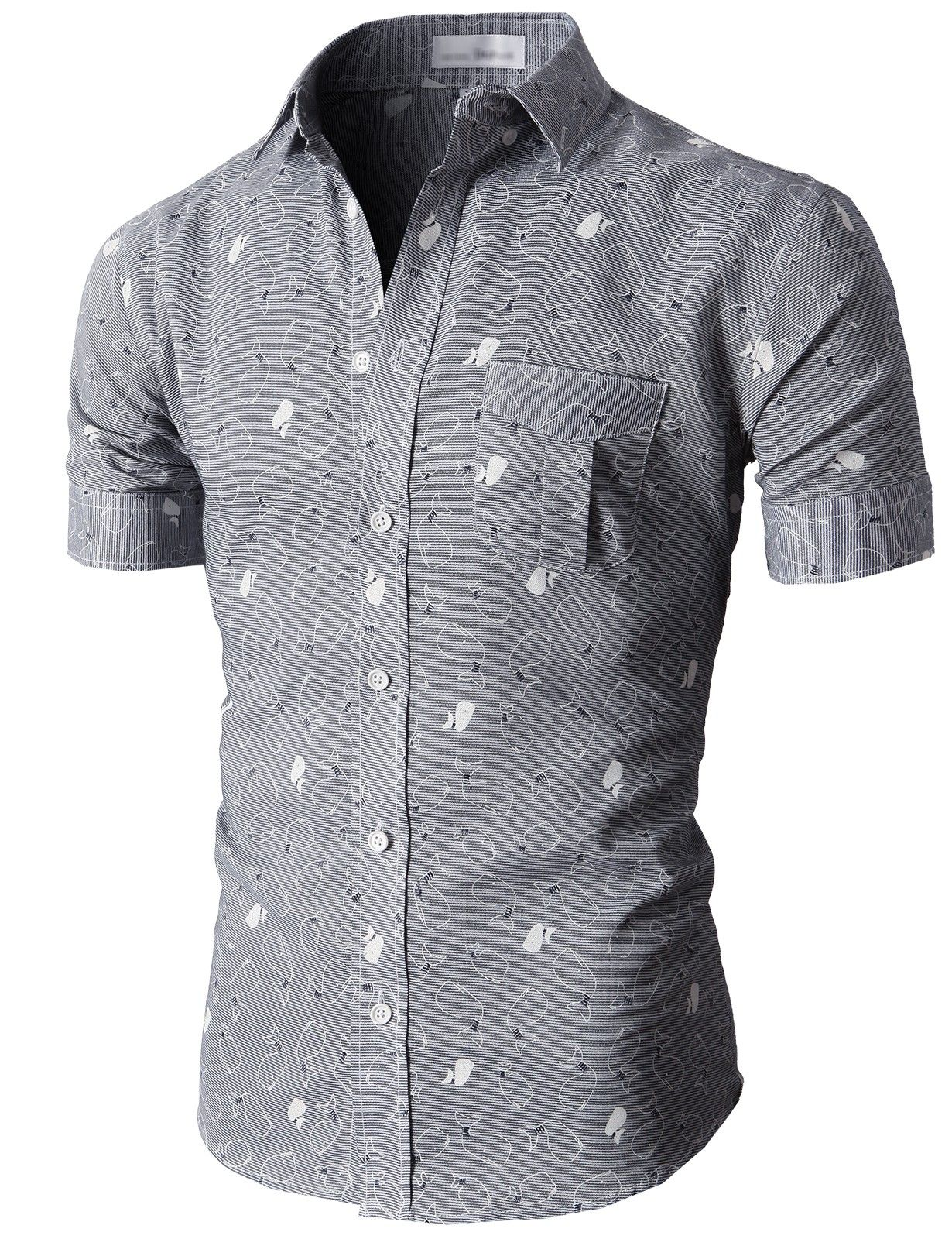Doublju Casual Button-down Shirts Short Sleeve (KMTSTS018) #doublju