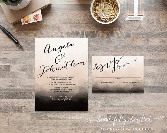 Black and Blush Watercolor Ombre Wedding by BeautifullyBevilled