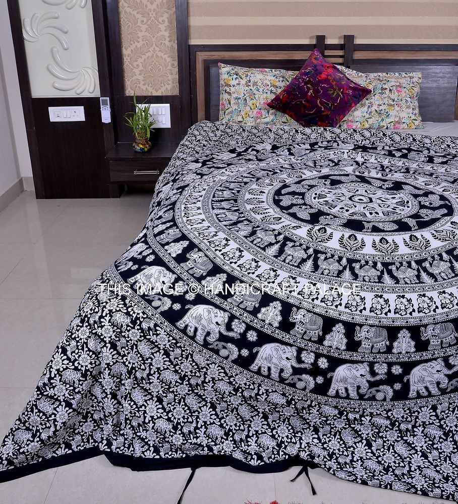 Ethnic Indian Elephant Mandala Print Bedding Duvet Quilt ...