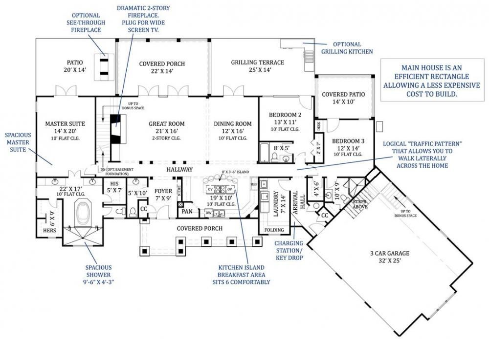 Best great room floor plans archival designs 39 tres le for Executive ranch house plans