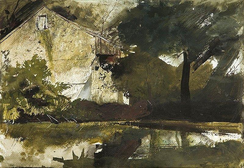 lucreziaveleno:  Andrew Wyeth (1917 — 2009, USA)Hoffman's Barn. 1959watercolor on paper. 14 x 20 in (35.6 x 50.8cm.) —