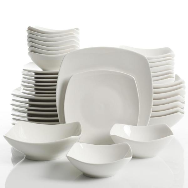 Gourmet Expressions Brentwood 40 Piece White Soft Square Dinnerware Set 124009 40r The Hom Square Dinnerware Set Dinnerware Set Modern Ceramic Dinnerware Set