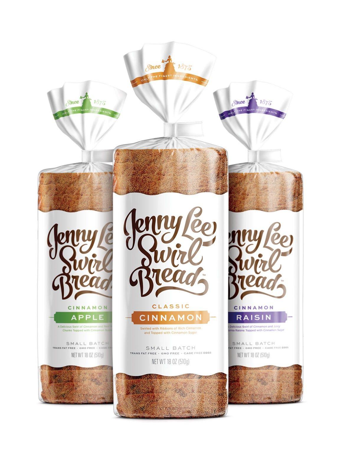 Jenny Lee Swirl Bread Bread packaging, Bakery packaging
