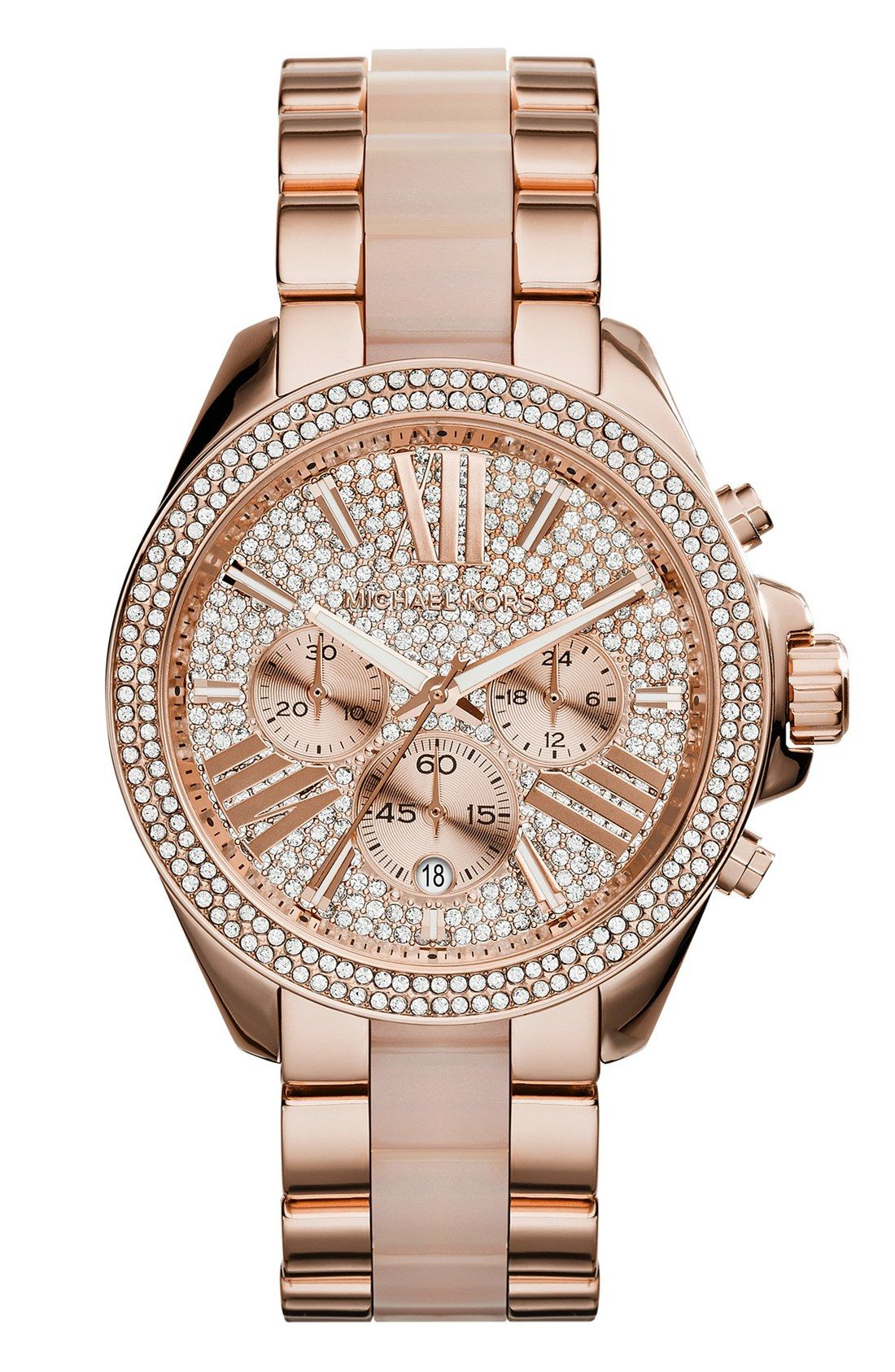 Putting this Michael Kors rose gold watch on the wishlist! Love the extra  bling - Perfect for a stacked wrist! a9ef8d4684