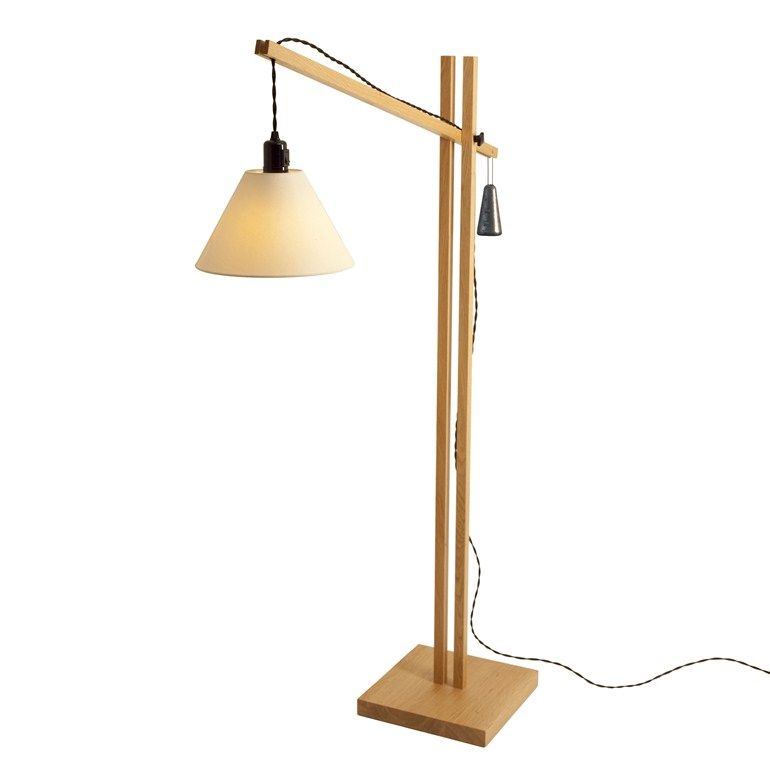 Adjustable wooden floor lamp Sticks Collection by Steuart
