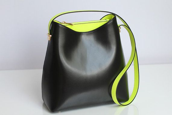 Black+Leather+tote+White+leather+bag+Shopping+by+JoyandSurprise,+$78.58