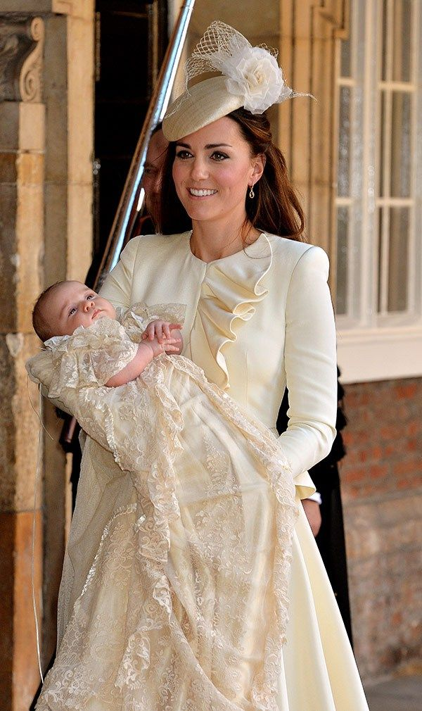 Kate Middleton Duchess of Chambridge wearing cream for the Royal Christening of Prince George