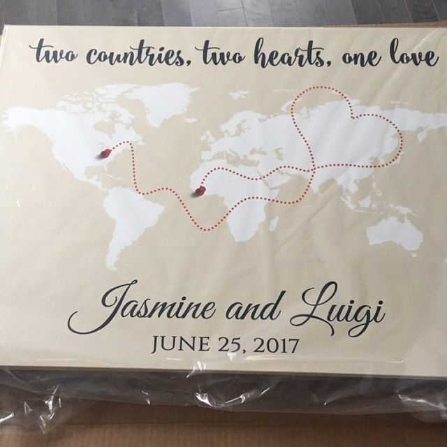 Httpsetsylisting281607772wedding guest book wedding guest book alternative world map guest book canvas or poster long distance relationship personalized world travel map wall art gumiabroncs Gallery