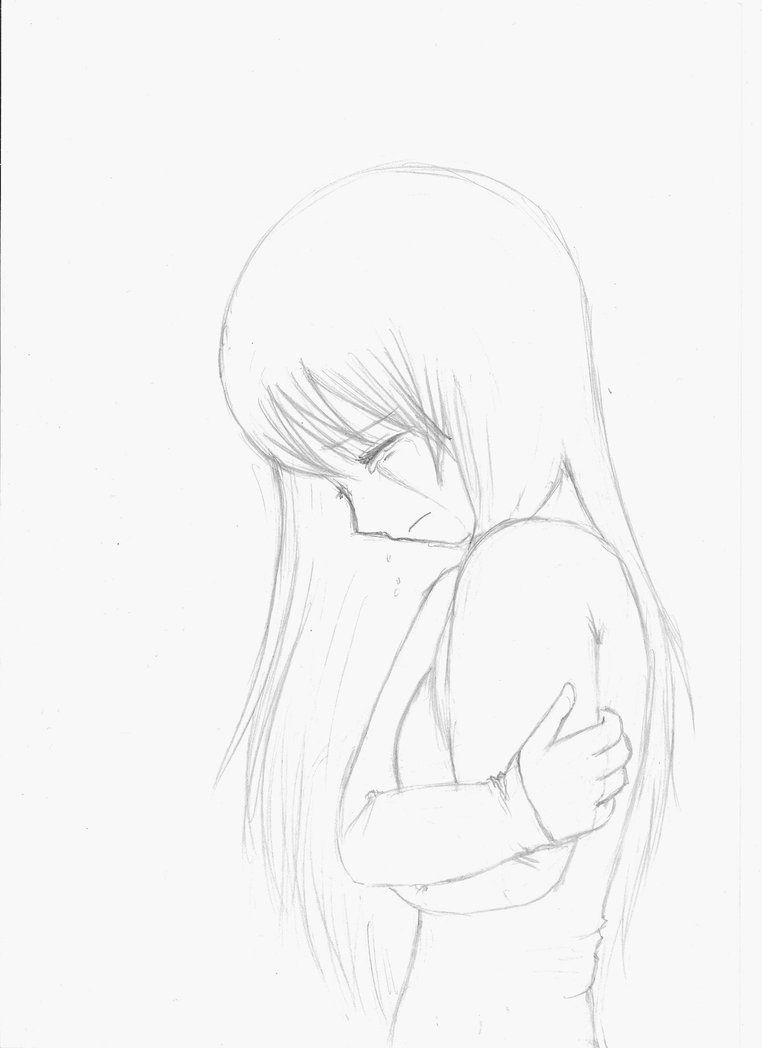 Anime girl crying crossed arms sketch by little fangirlx