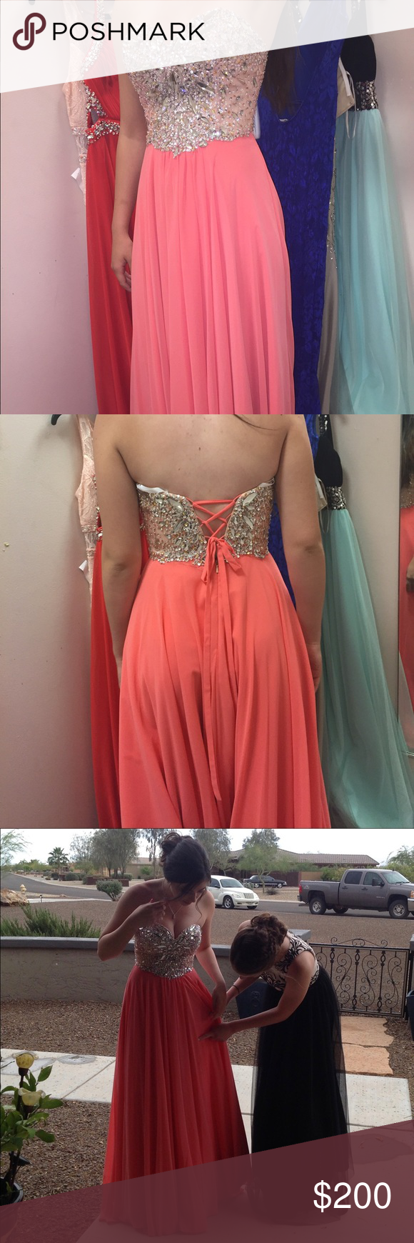 Gorgeous coral colored prom dress | Coral color, Prom and Corset