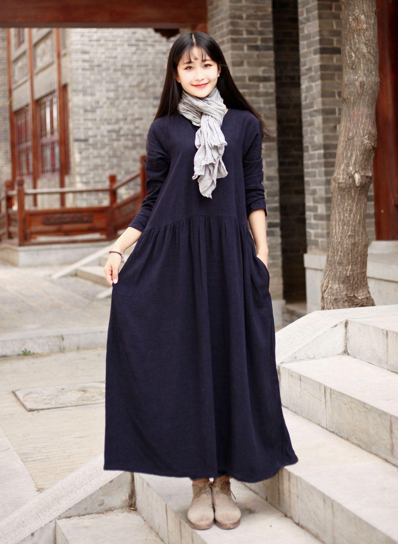 Linen dress Cotton Maxi dress Casual loose long dress Custom-made ...
