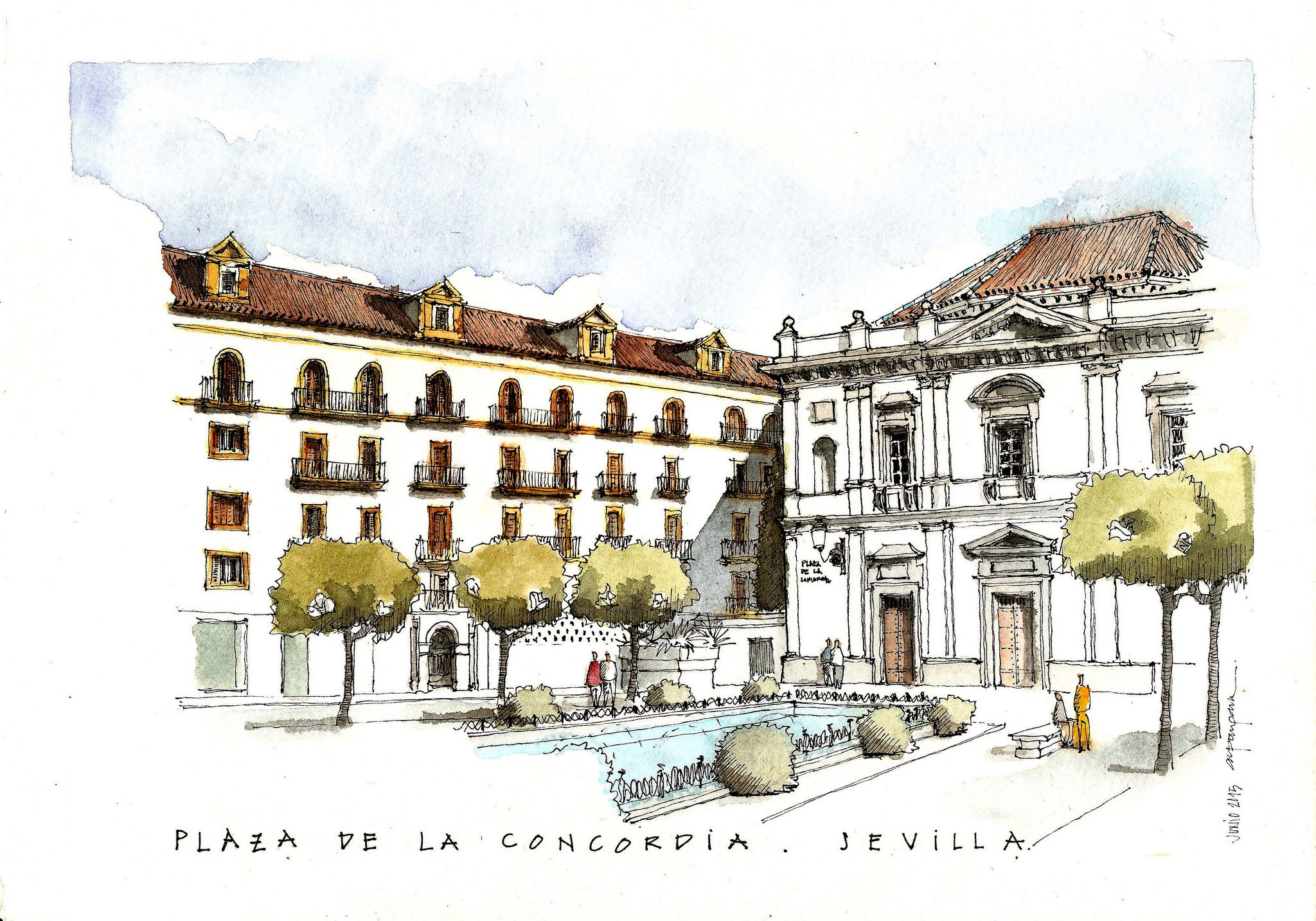 Plaza De La Concordia plaza de la concordia   urban sketching, building painting