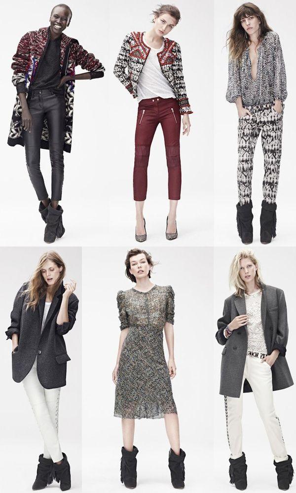 Coleção da Isabel Marant para H&M. Para os fãs da marca, a parceria não deixa a desejar. A coleção está repleta de calças skinny de couro e enceradas, estampas étnicas, bordados, botas e scarpins com aquele ar boho sexy, pegada preferida da estilista.   A coleção estará nas lojas no dia 14 de novembro.