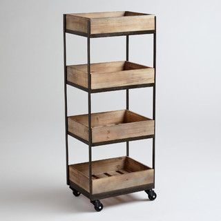 4-shelf Wooden Gavin Rolling Cart - contemporary - kitchen islands and kitchen carts - by World Market