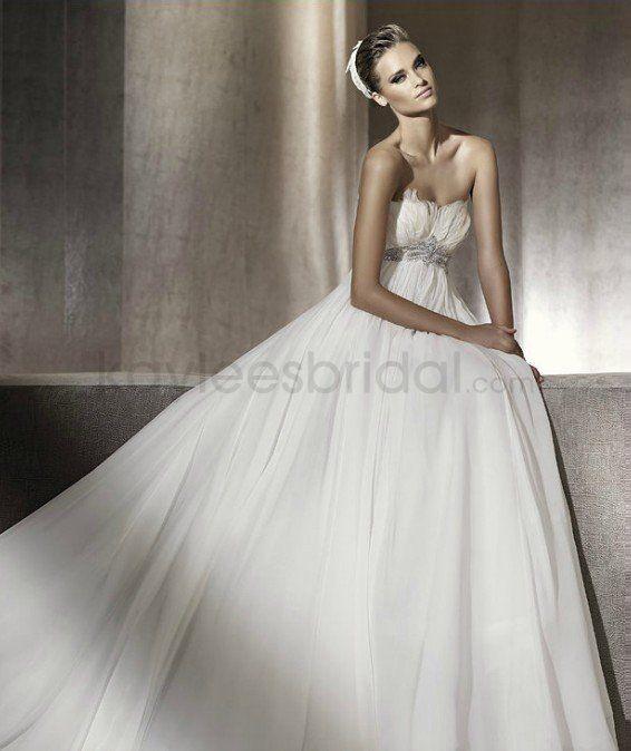 Chiffon A-Line Strapless Soft Neckline Gathered Bodice Wedding Dress