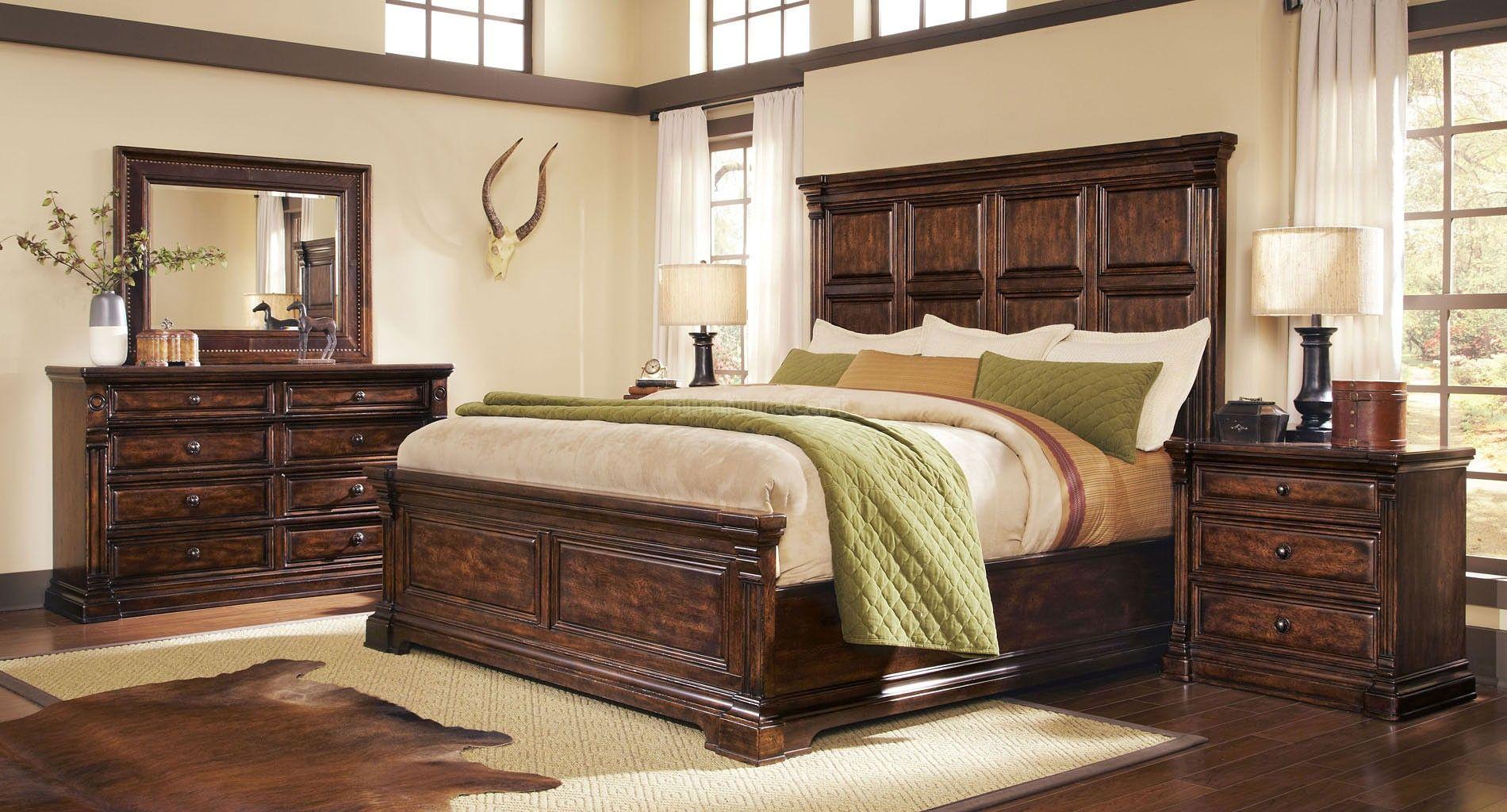 Whiskey Oak Panel Bedroom Set Wood bedroom furniture
