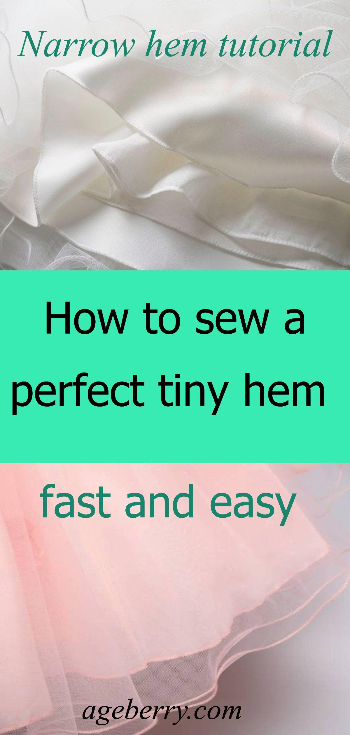Narrow hem tutorial: how to make narrow hem using Ban Roll tape #sewingtechniques