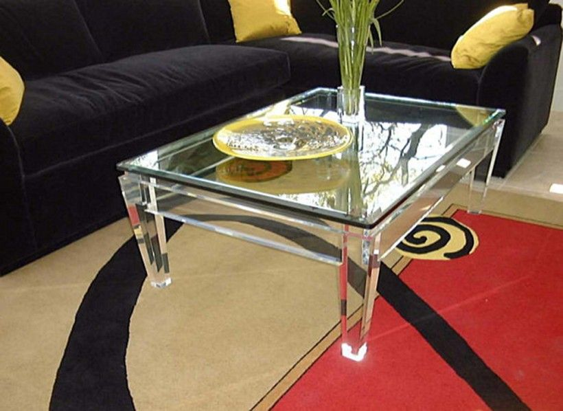 Furniture Acrylic Square Cocktail Table Black Fabric Sofa Yellow