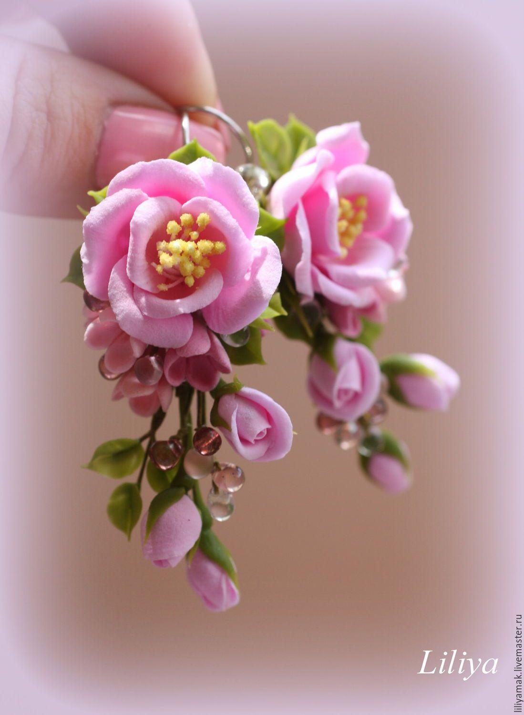 """Купить Серьги """"Девичьи мечты"""" с цветами ручной работы - бледно-розовый, серьги с цветами"""