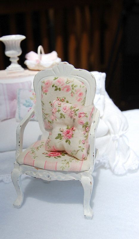 Dollhouse Shabby Distressed White Wood Upholstered Chair via Etsy.