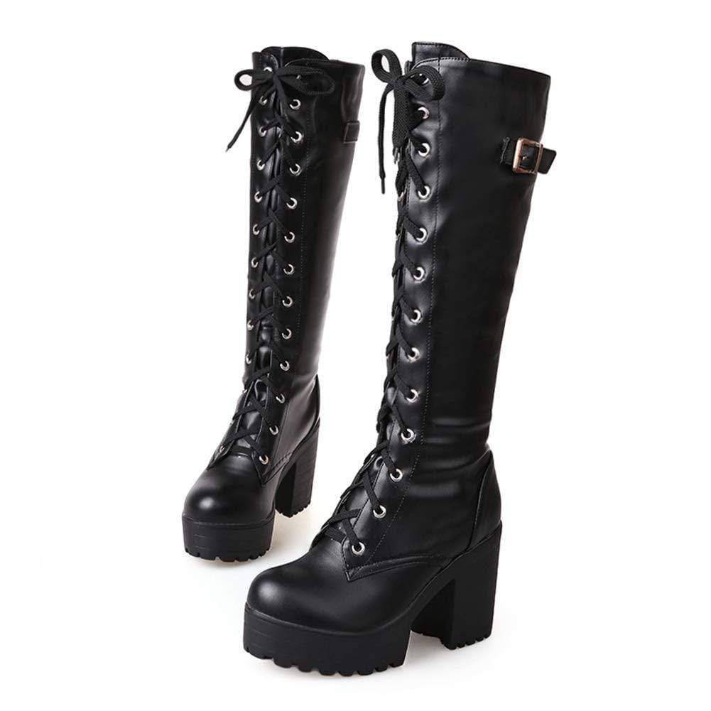 Tall And Thick High Heel Women Boots Black Womens Chunky Heels Chunky Boots Platform Heels Boots