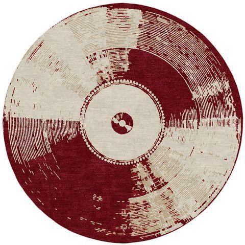 vinyl modern circle rug design based on an record for
