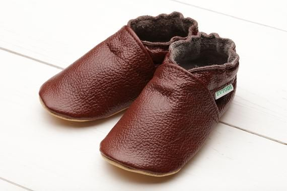 ff1125b7ee7ff Dark Brown Baby Moccasins, Leather Baby Shoes, Soft Sole Baby Shoes ...