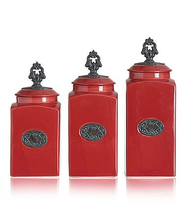 Look what I found on #zulily! Lina Red Three-Piece Canister Set #zulilyfinds