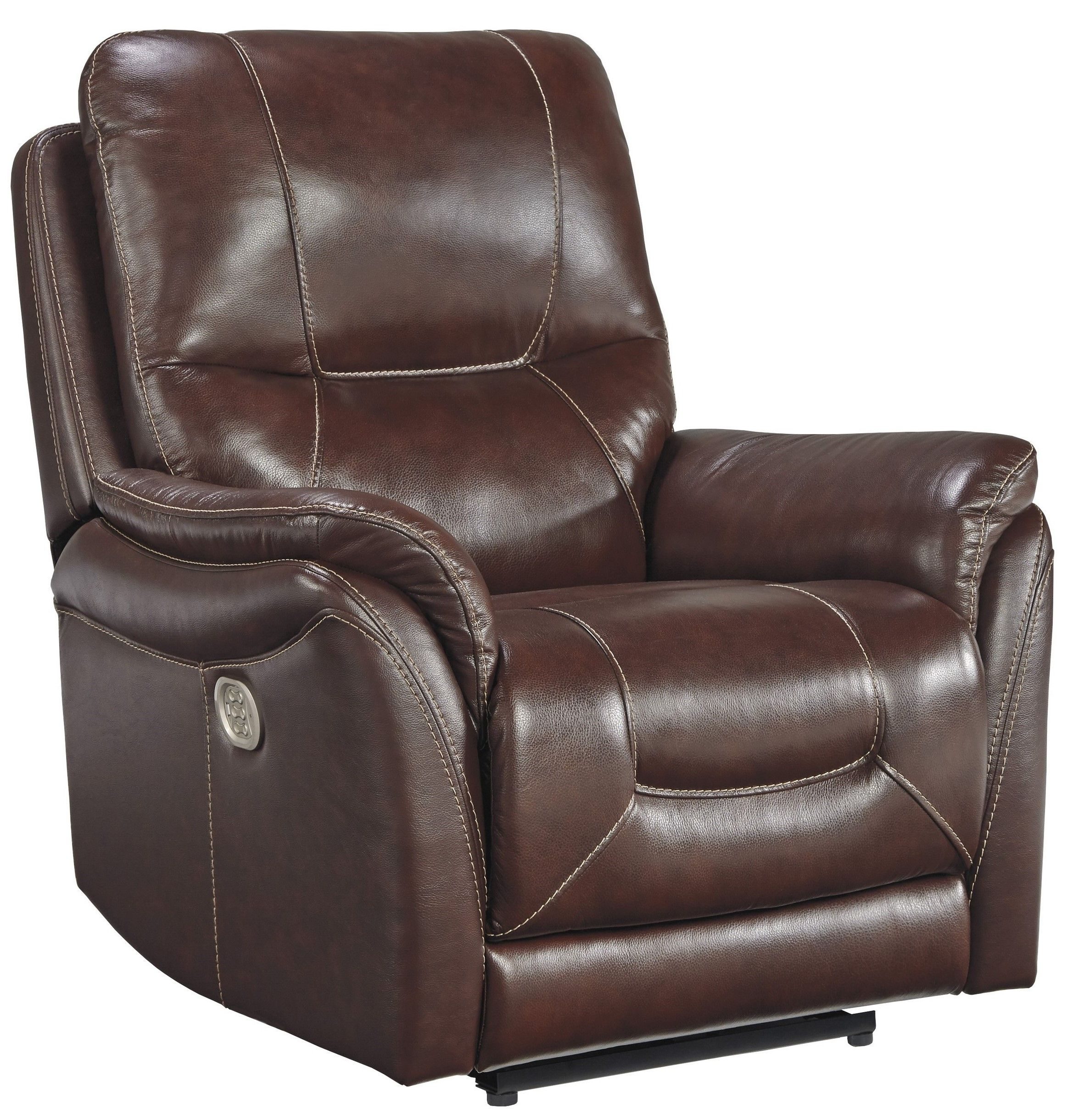 Signature Design By Ashley Stolpen Walnut Power Recliner With Adjustable Headrest 5650313 Goedekers Com Brown Leather Furniture Leather Furniture Power Recliners