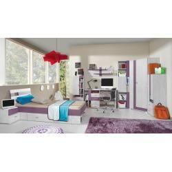 Photo of Habitación juvenil – TV – Mueble bajo Emilian 12, pino blanqueado / violeta – Dimensiones: 50 x 120 x 50 cm