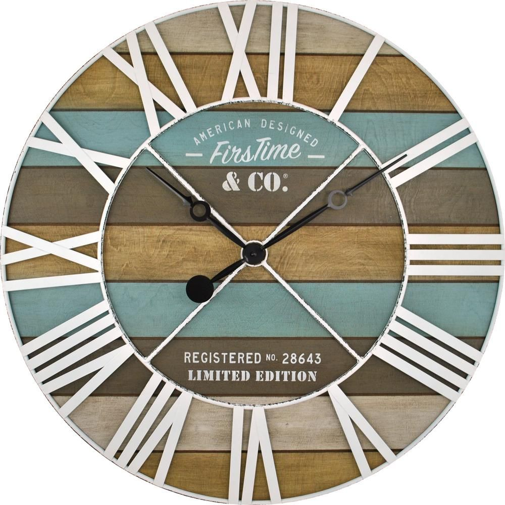 FirsTime /& Co Love Pallets Wall Clock Natural Wood 12