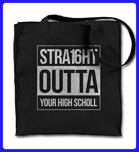 Straight Outta Your High School Gangsta Funny Cool Black Canvas Tote Bag, Cloth Shopping Shoulder Bag - Shoulder bags (*Amazon Partner-Link)