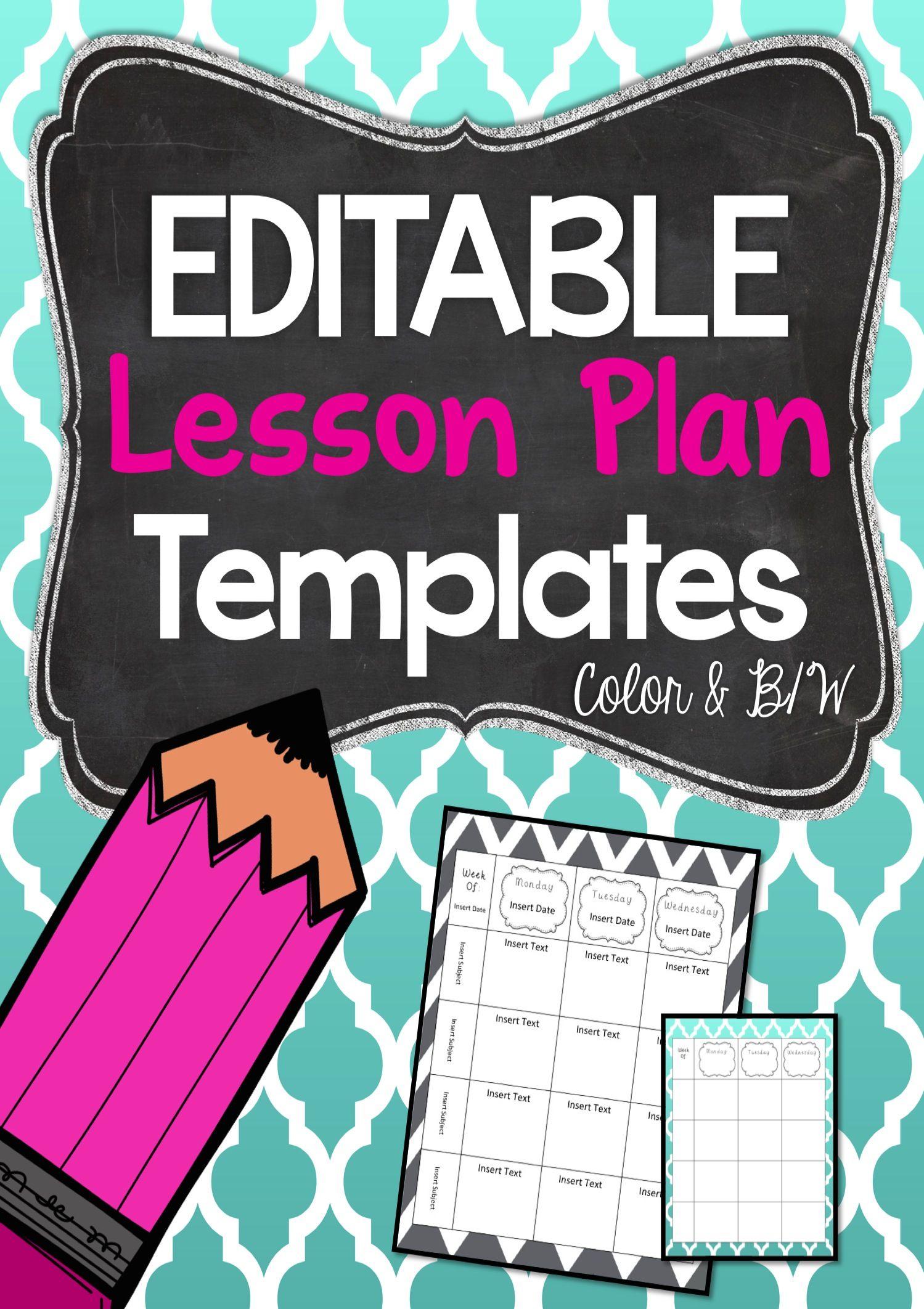 Editable Lesson Plan Templates Beginning Of Year