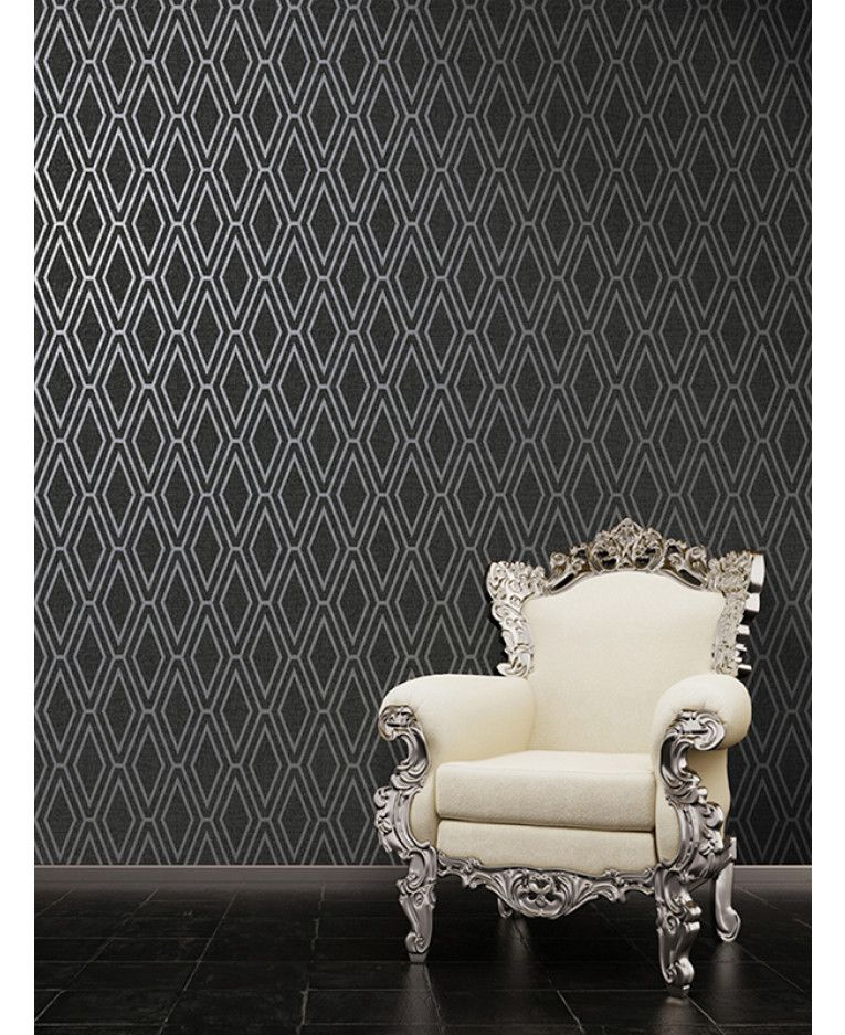 Opulent Shimmer Diamond Black Geometric Wallpaper Features A Geometric Pattern With Contra Wallpaper Walls Decor Geometric Wallpaper Geometric Wallpaper Prints Black geometric wallpaper uk
