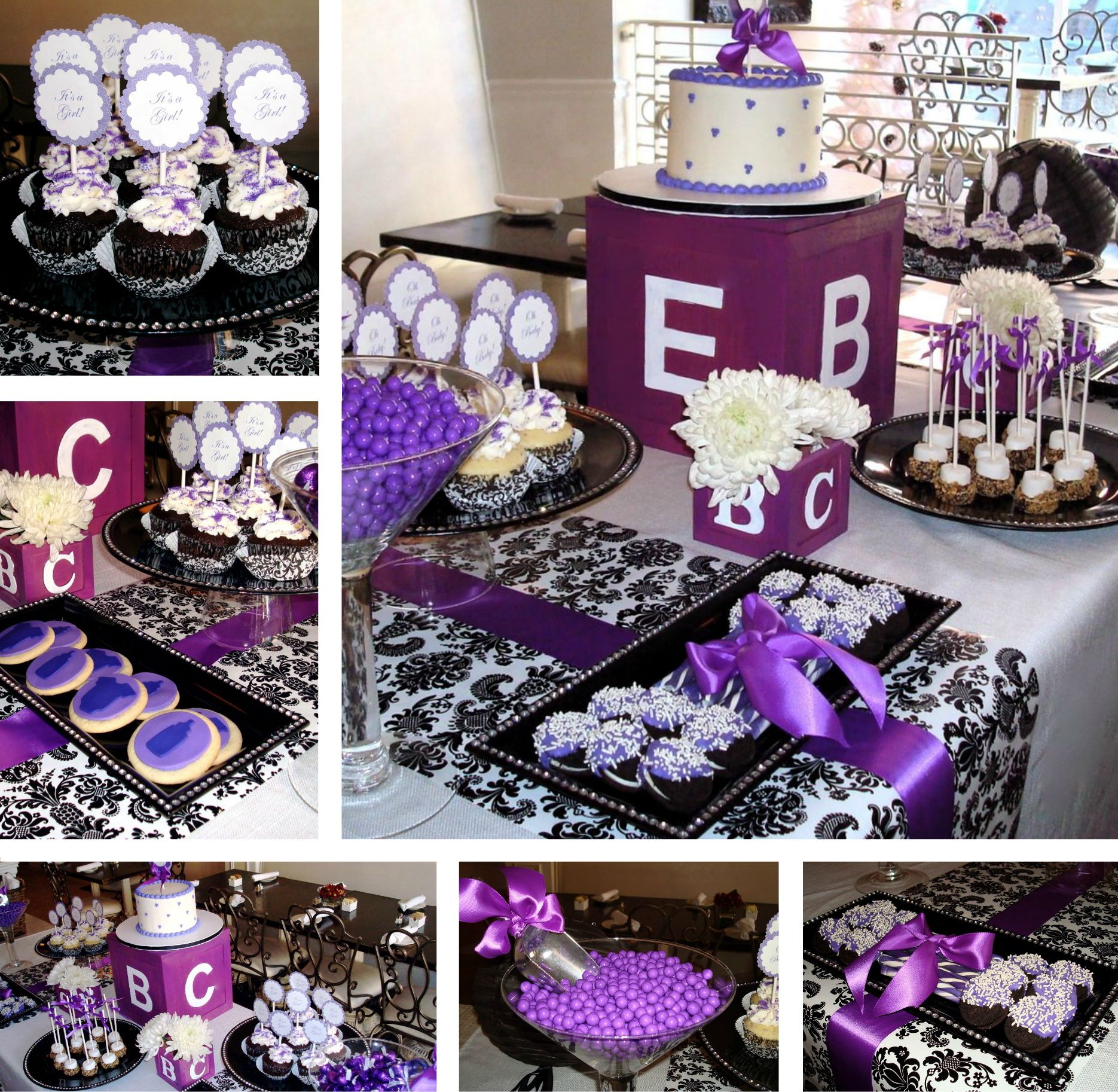 purple and black baby shower decorations