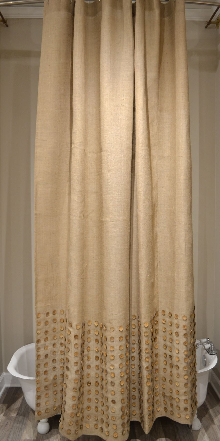 Burlap Button-Natural 72x96 Shower Curtain | CURTAINS SOME ...