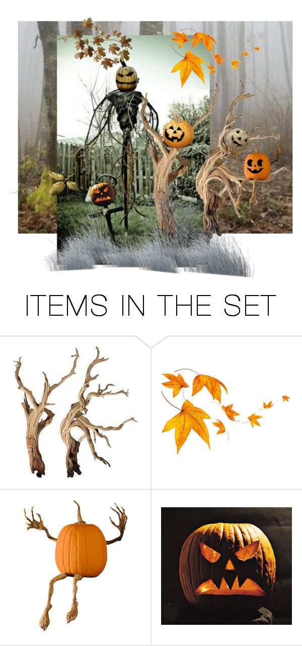 """just a tree branch"" by rewolf71 ❤ liked on Polyvore featuring art, pumpkin and scarecrow"