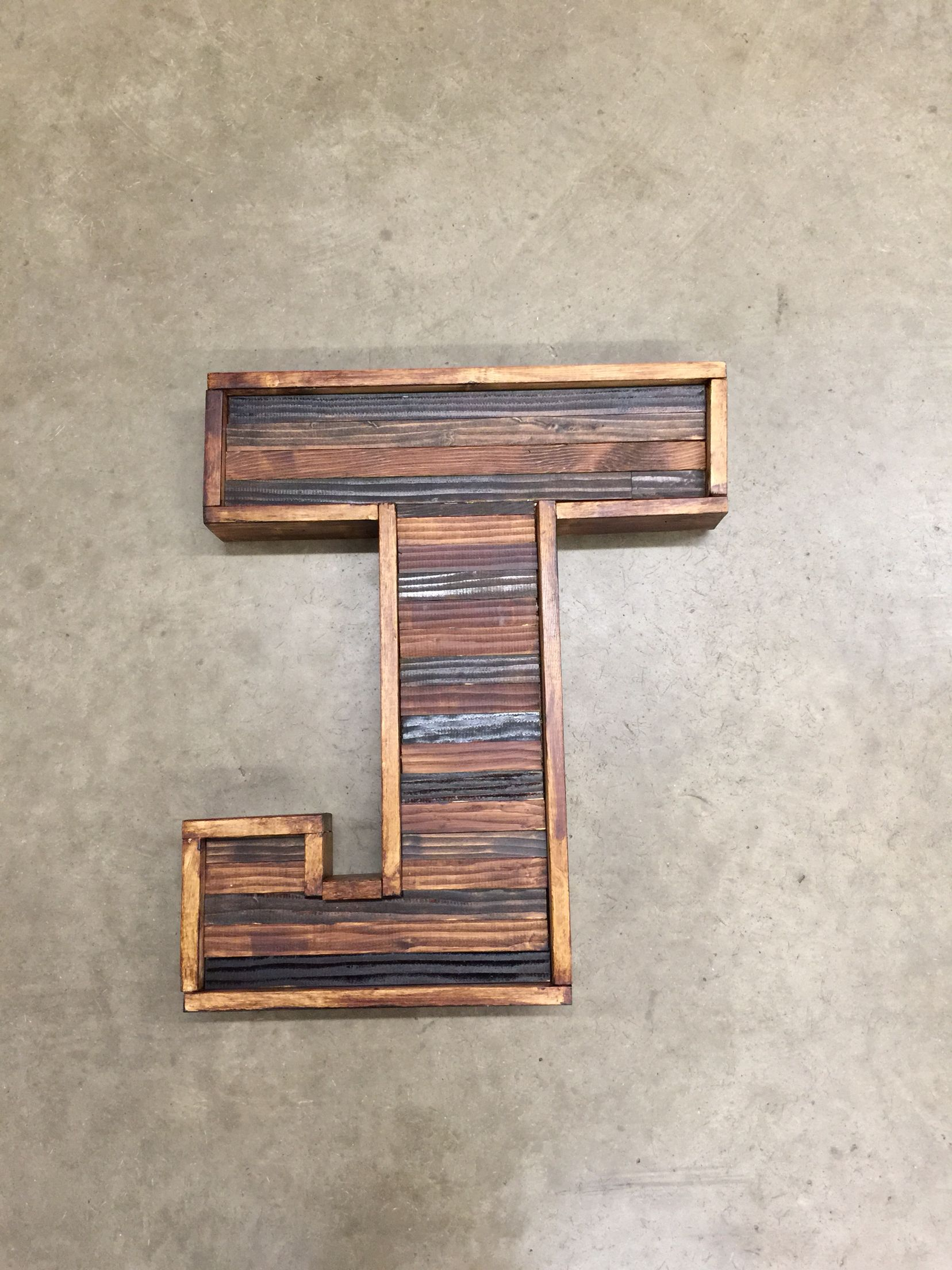 """2ft tall """"J"""" from reclaimed wood by my hubby!"""