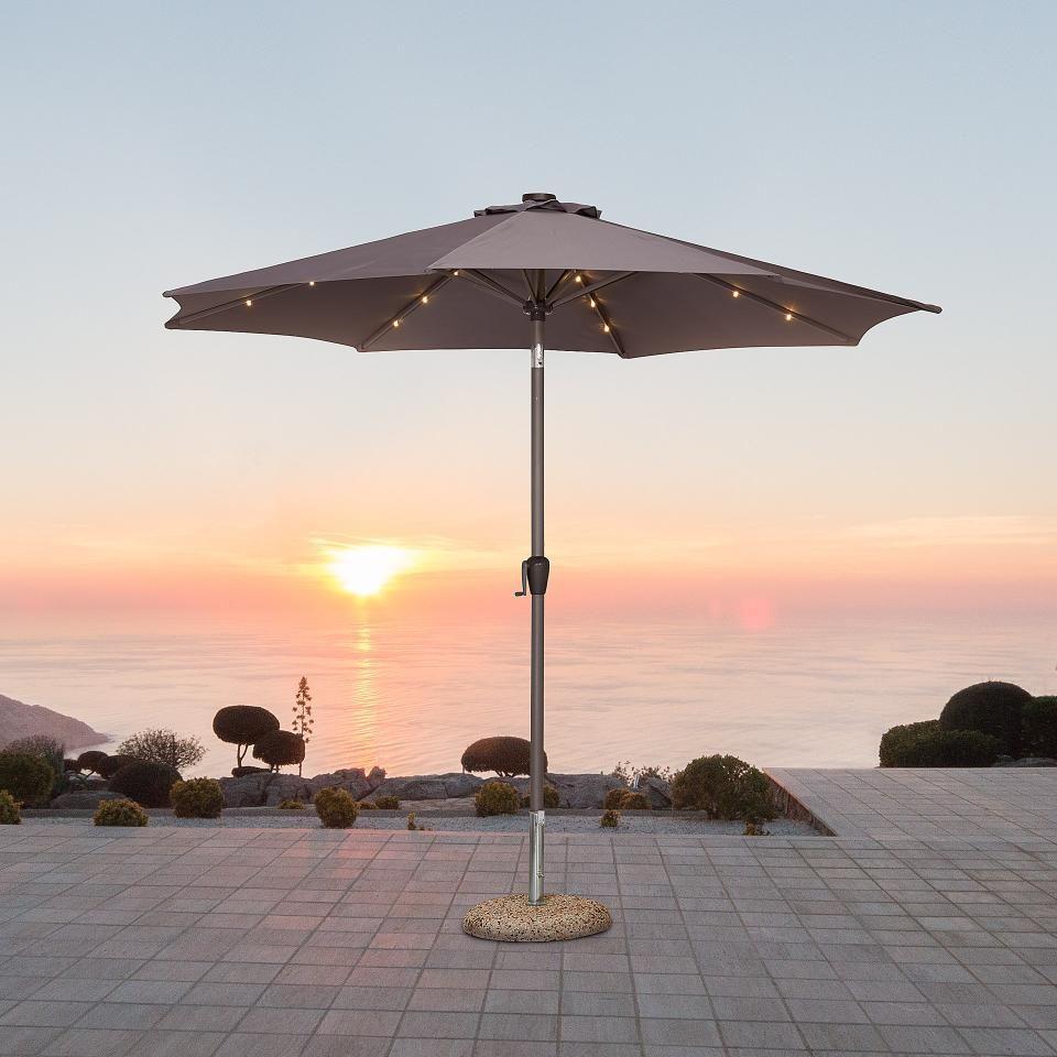 Alu Sonnenschirm Mit Led Beleuchtung Grau Danisches Bettenlager Sonnenschirm Led Beleuchtung Schirm