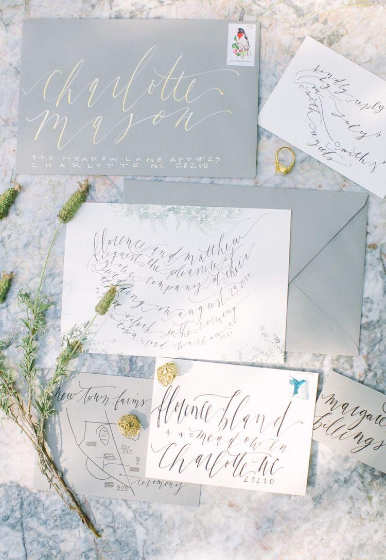 Soft Abstract Bohemian Ink Weddinginvitation Calligraphy