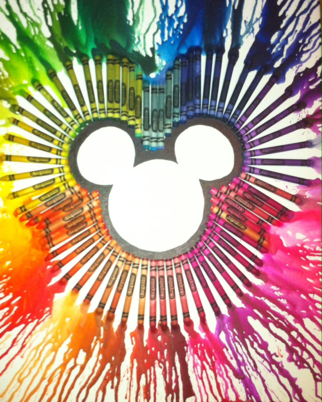color crayon art : Mickey Mouse Melted Crayon Art