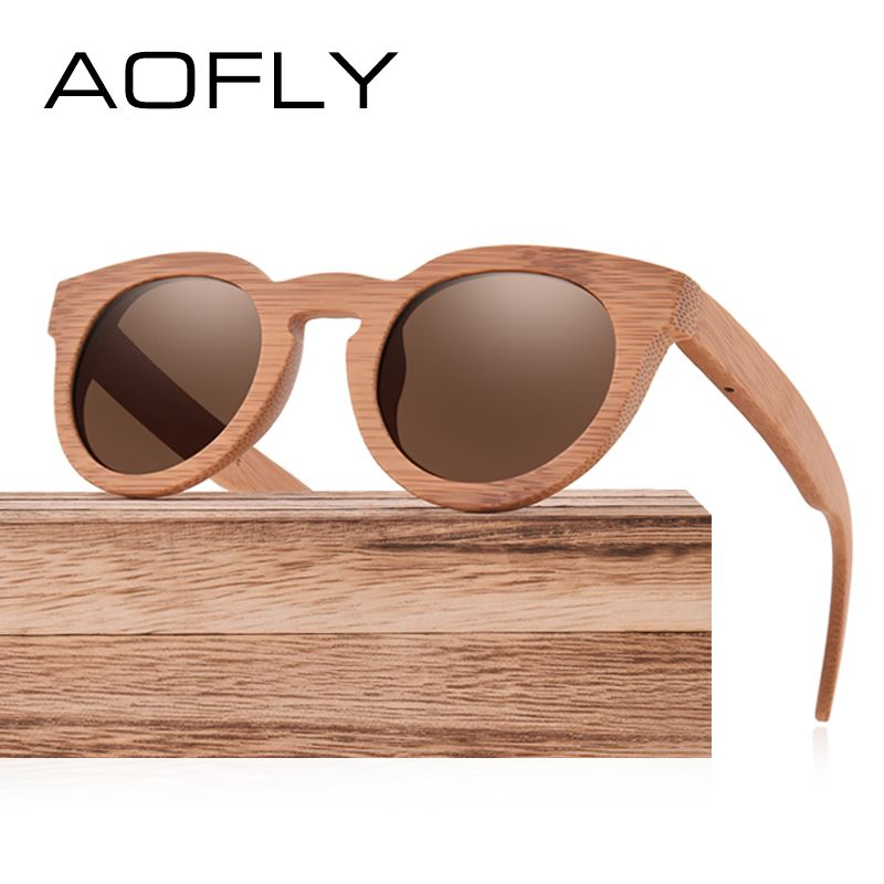 0963c097e3795 AOFLY Fashion Polarized Sunglasses Bamboo Sunglasses Men   Women Hand Bamboo  Frame Brand Oval Design Mirror