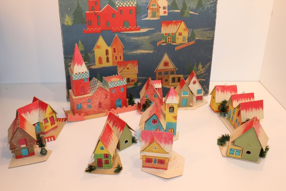 Italian Christmas Lights Miniature Paper Houses 12 Houses Buildings