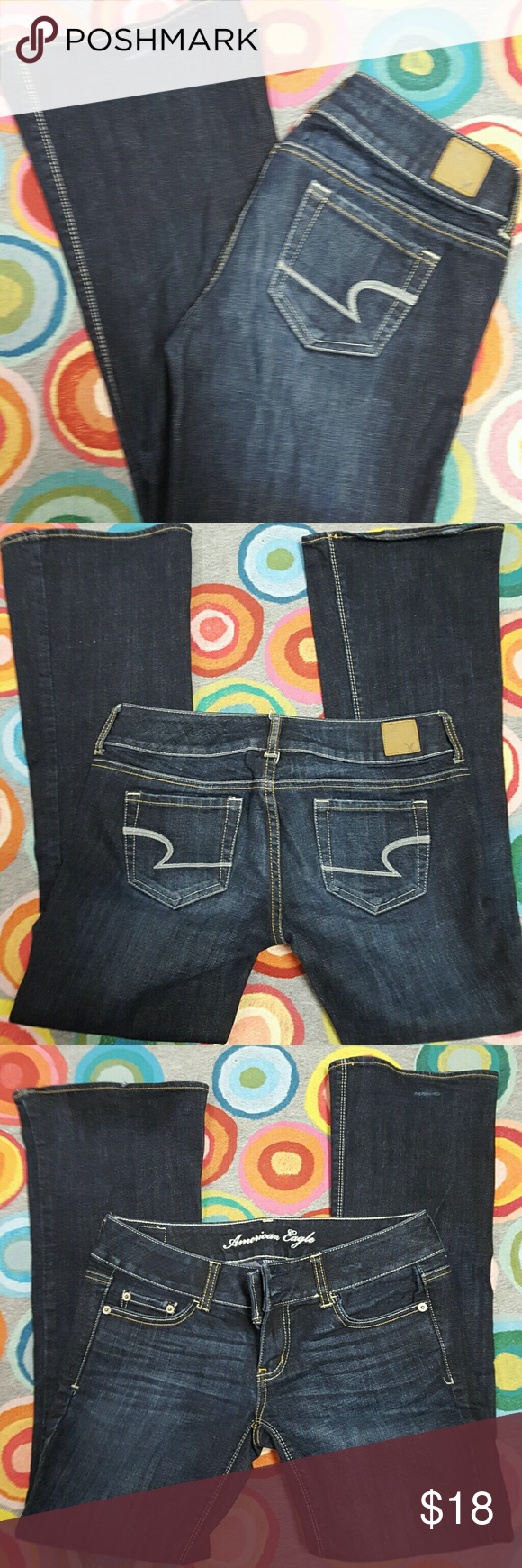 AMERICAN EAGLE JEANS. Straight leg with boot cut AMERICAN EAGLE JEANS. Straight leg with slight boot cut. Great condition! 36.5 length. 28.5 inseam. Size 4. Has some stretch. American Eagle Outfitters Jeans Boot Cut