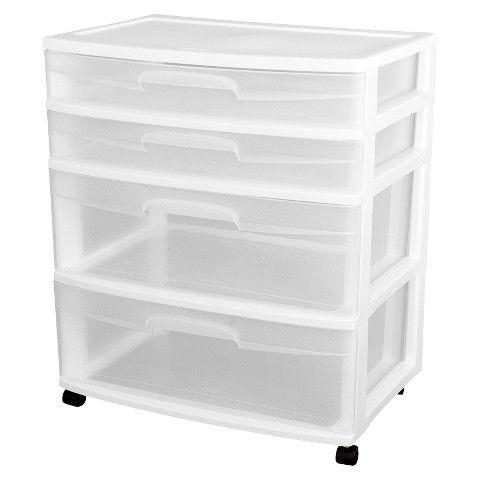 Sterilite® Ultra™ 4-Drawer Storage Cart - White  sc 1 st  Pinterest & Sterilite® Ultra™ 4-Drawer Storage Cart - White | DIY- Projects ...