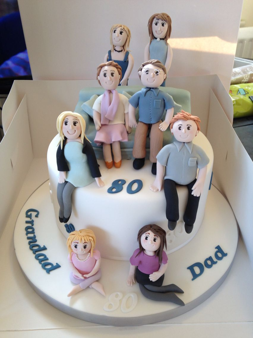 family portrait 80th birthday cake for a special grandad. Black Bedroom Furniture Sets. Home Design Ideas