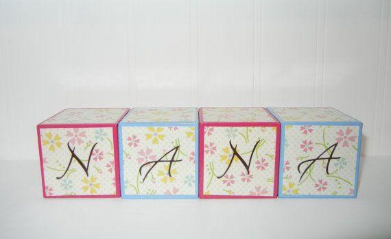 Decorative Nana Wooden Blocks by nellibelli on Etsy, $13.00