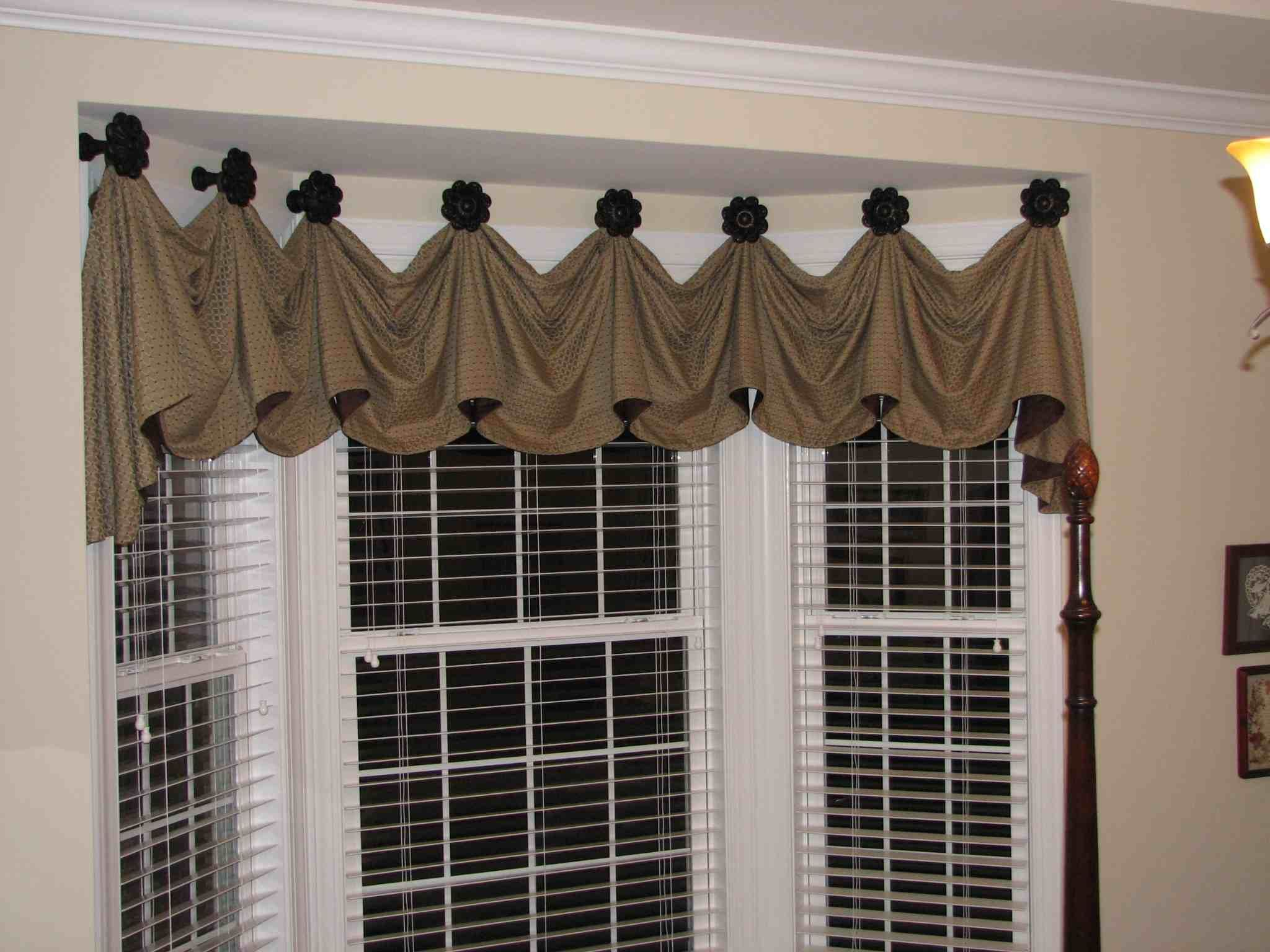 Furniture,Marvelous Kitchen Bay Window Treatments Design Ideas With Brown  Ruffle Curtain And White Iron Trellis Featuring Beige Colored  Wall,Attractive ...
